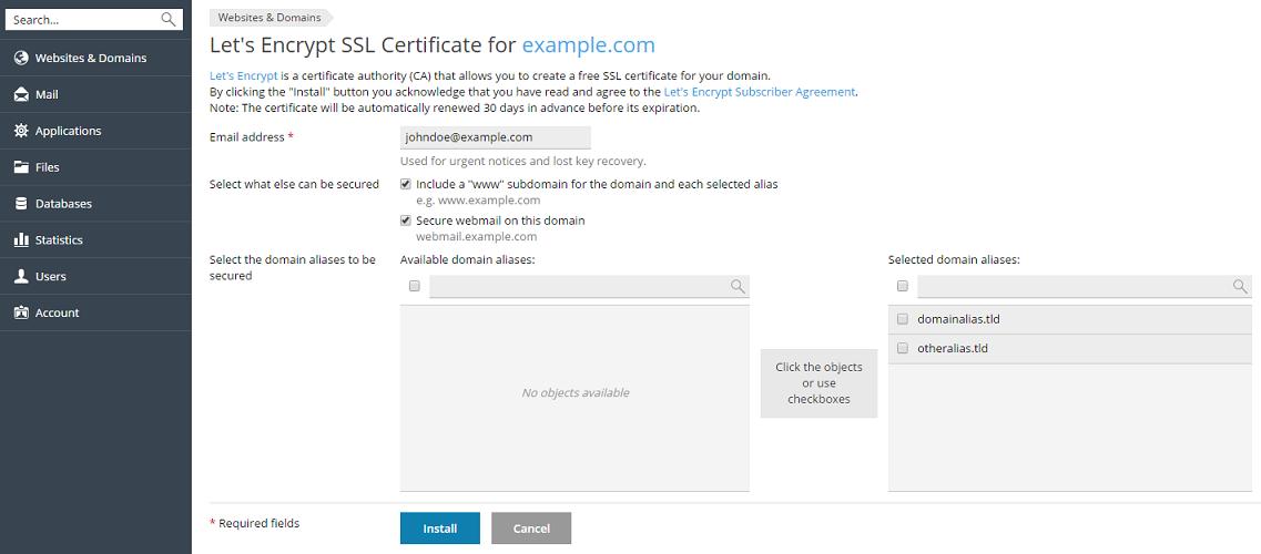 Abrufen eines kostenlosen SSL/TLS-Zertifikats von Let\'s Encrypt