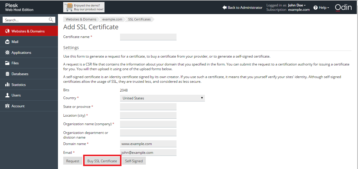 Locations of Links for Purchasing and Viewing SSL Certificates