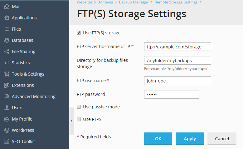 image-FTP-storage-settings