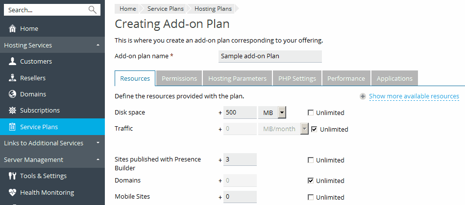 Setting Up Add-on Plans