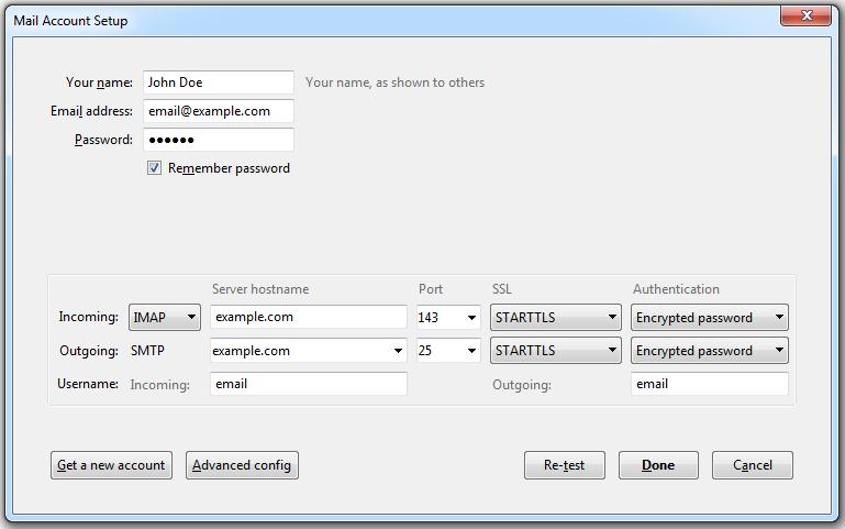 Access from Mozilla Thunderbird