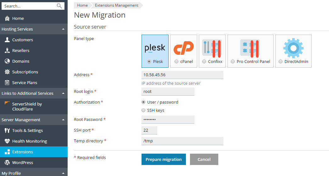 Migrating via the Plesk Interface