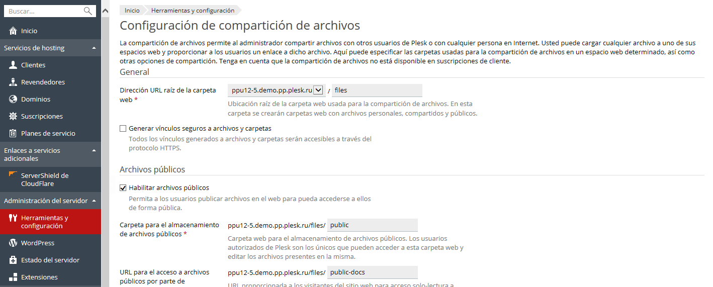Configuración de compartición de archivos