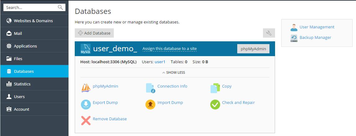 Bases de datos de sitios web