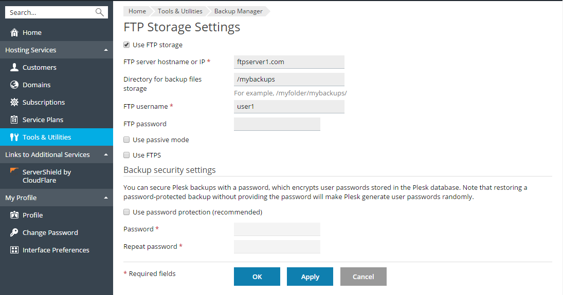 FTP_storage_settings