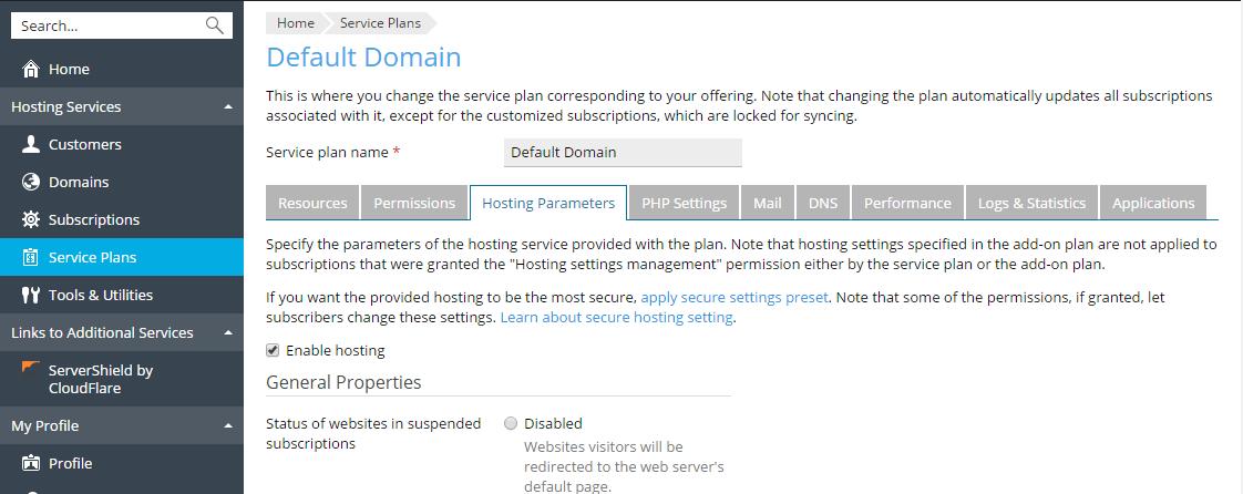 Хостинг важные параметры панель хостинга web